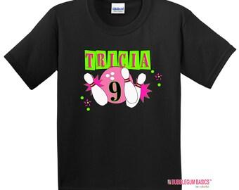personalized kids tshirt for Bowling party - bowling shirt for birthday party - cool kids t shirt - funny tshirt - girls birthday tshirt
