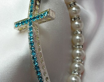 Sideways Cross Turquoise Rhinestone Pearl and Crystal Stretch Bracelet embellished with crystals from Swarovski®