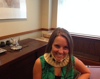 Cowl with tie.  Can tie on side or back.