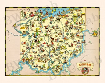 Pictorial Map of Ohio - colorful fun illustration of vintage state map
