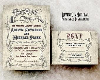 Vintage Wedding Invitation suite, wedding invitation set, elegant wedding invitation, 1900s wedding invitation, Printable wedding Invitation