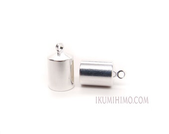 6mm BeadSmith Silver Plated Barrel End Caps One Pair
