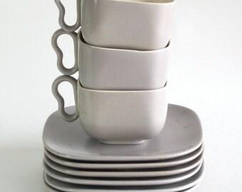Franciscan Ware Metropolitan - 3 Gray Satin Cups and 6 Saucers