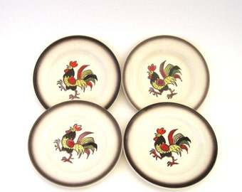 Metlox Red Rooster Bread Plates x 4