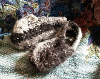 Crocheted slippers from hand-spun wool