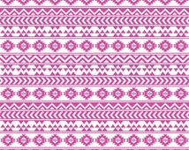 fuchsia and white tribal pattern  adhesive vinyl sheet 12x12 Aztec Peruvian - cutter matte or gloss DV917