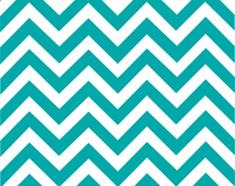 Teal chevron craft  vinyl sheet - HTV or Adhesive Vinyl -  teal and white large zig zag pattern   HTV1001
