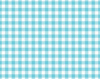 Aqua Gingham  craft  vinyl sheet - HTV or Adhesive Vinyl -  aqua and white pattern   HTV205