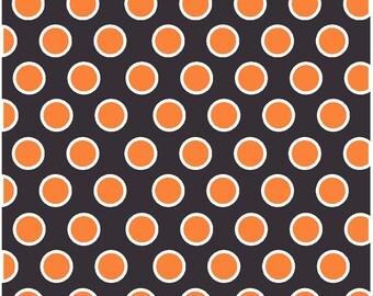 Black with orange and white dots craft  vinyl sheet - HTV or Adhesive Vinyl -  large polka dot pattern  Halloween HTV720