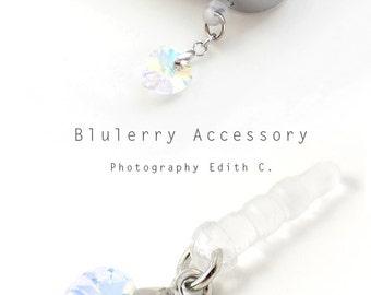 Aurora White Dangle Heart Swarovski Element Cyrstal Anti Dust Plug Cover Stopper for iPhone Samsung HTC Smartphone Accessory