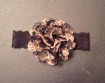 Cheetah Flower Lace Headband- baby headband-lace headband-cheetah baby headband