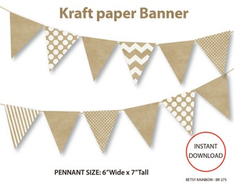 Printable banner, kraft paper digital banner, printable pennants, DIY party  - BR 275