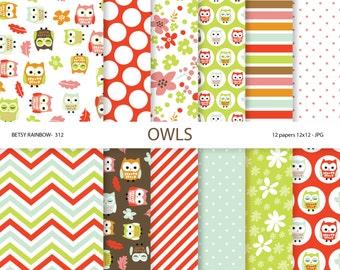 Owl digital paper pack, owl scrapbook paper, owls, owl paper, scrapbook supplies - BR 312
