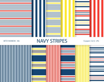 Navy stripes Digital Paper Pack, digital papers, stripes, navy blue, red, yellow - BR 346