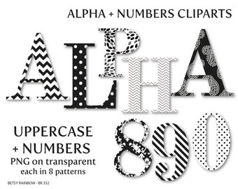 Black and white alphabet clip art, letters and numbers, letter clipart, number clipart, dots, stripes, damask, floral  - BR 352