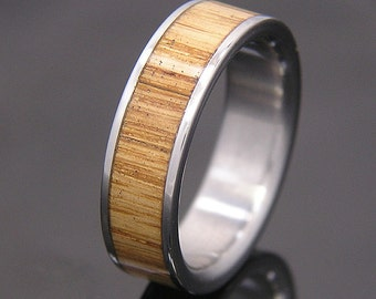 Used Jack Daniel Distillery Whiskey Light Uncharred Barrel Wood  Wedding Band or Ring