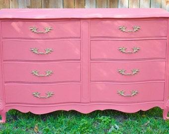 Sold Vintage Coral Pink French Provincial Dresser