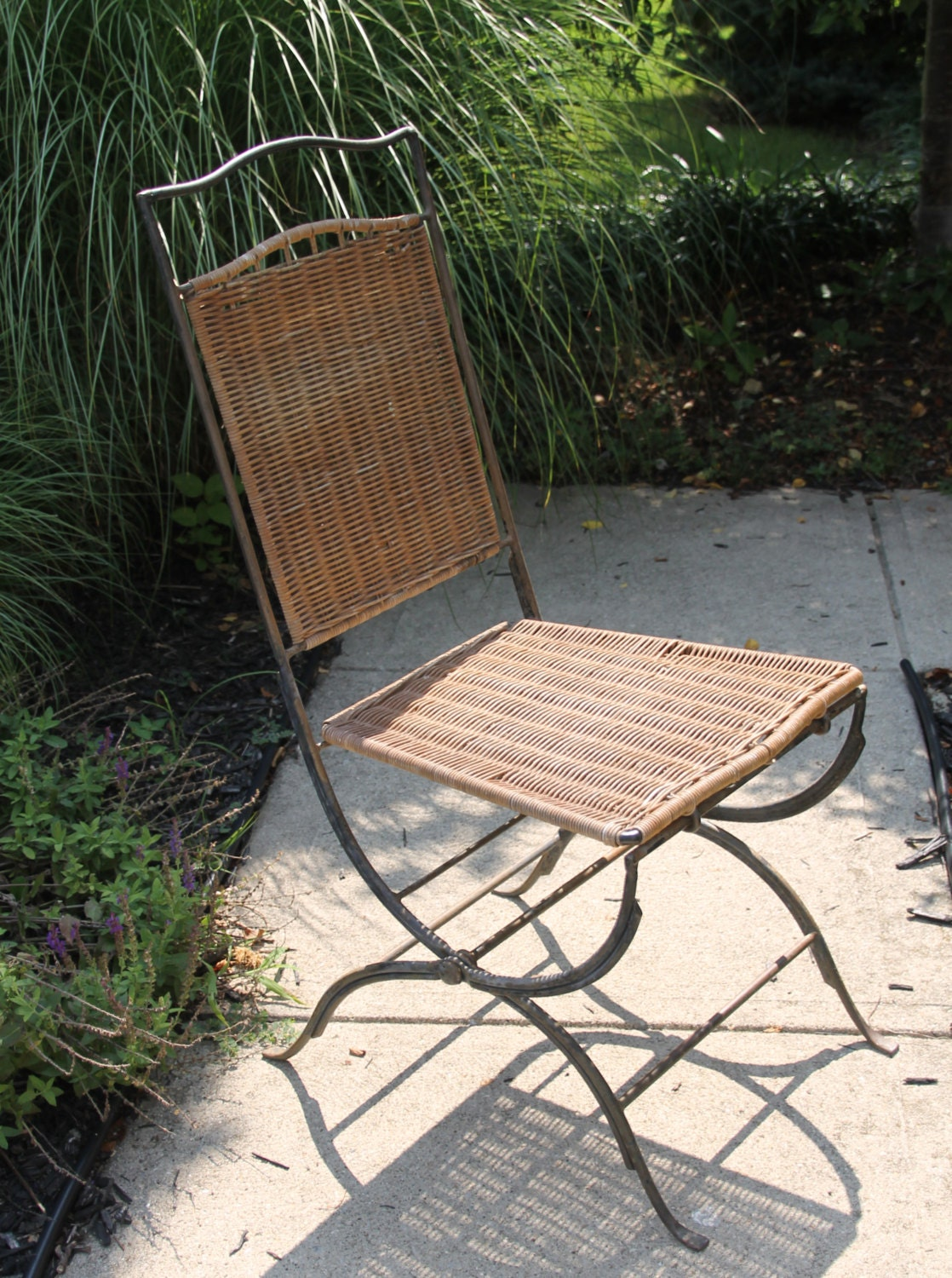Vintage Wicker Rattan Chair Mid Century Modern Seating