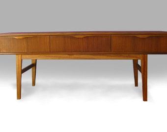Danish mid century modern Teak Platform Credenza - FREE SHIPPING - cabinet, dresser, sideboard, chest of drawers