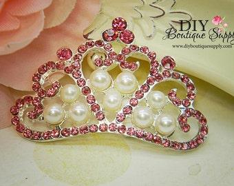 3 pcs Large Beautiful Pink Rhinestone Flatback Crown w/ Pearls Rhinestone Buttons Bow Headband Embellishment 53mm 260100