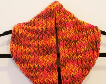 CLEARANCE / MULTICOLOR Pink, Orange, Yellow, Infinity Scarf / Neckwarmer, Circle Scarf, Hand Knit Very Soft and Cozy