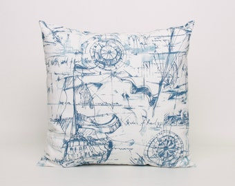 "Nautical Throw Pillow Cover Blue and White Cushion Cover Throw Pillow Cover Designed to fit 16"" insert Blue Accent Pillow Blue Throw Pillow"
