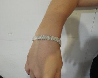 Beaded handwoven hemp bracelet