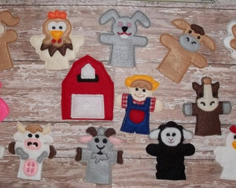 Old MacDonald Farm Finger Puppet Set - Old MacDonald , Barn and 7 Animal Finger Puppets your choice Barn is not finger puppet Great Gift