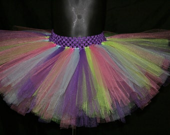 Purple, Pink, Green and Light Blue Tutu Skirts, Children's Tutu Skirts, Newborn to 6T Tutus, Colorful Tutu Skirt