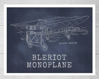 Aviation Vintage Bi-Plane Blueprint Wall Art. Airplane print no. 5B.