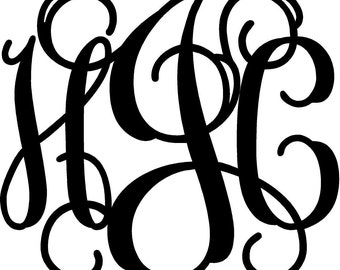 "Monogram Wall Decal 23"" tall x 26-30"" wide depending on monogram"