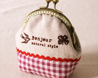 Handmade linen with grid coin purse, coin purse, ready to ship