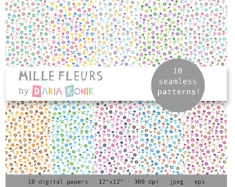 """Mille Fleurs Digital Paper Pack-small flowers, various colors,  flower papers, seamless patterns, eps, jpeg, 12"""" x 12"""", instant download"""