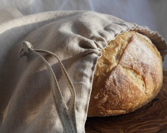 Linen Bread Bag - Round Loaf
