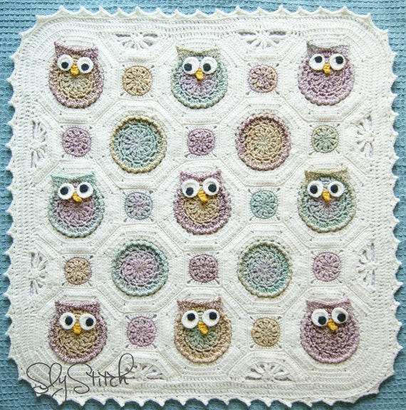 Owl Obsession Crochet Baby Blanket Fabric Lined Gender Neutral