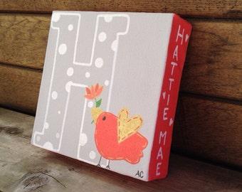 Hand painted original personalized little birdie nursery painting