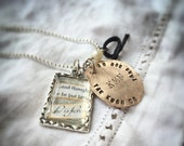 Martial arts necklace. Personalized, train flattened pennies. Antique silver rectangle charm and wired bead on a 1.5 mm silver ball chain
