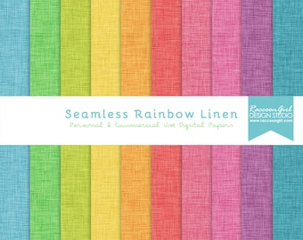 Seamless Rainbow Linen Digital Paper Set - Personal & Commercial Use