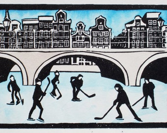 Handmade painted lino print, frozen winter canal with ice hockey players, Keizersgracht, Amsterdam, limited edition. Mounted, unframed.