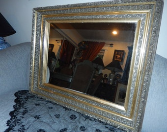 Ornate Antique Silver and Gold Leaf Wall Mirror
