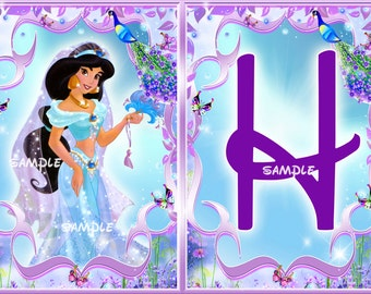 Princess Jasmine Birthday banner, Jasmine Birthday banner - Digital files-PERSONALAZED