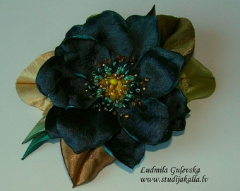 Handmade aeruginous satin flower brooch, flower pin, embroidered flower