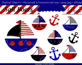 SALE! Sail Boat Clipart  (Personal & Small Business Use)