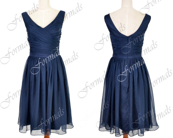 Navy Wedding Dresses, Chiffon Party Dresses, Dark Navy Bridesmaid Dresses, V Neck Chiffon Short Formal Dresses, Cocktail Dresses