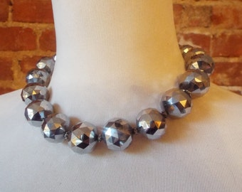 Large Round Silver Czech Glass Statement Necklace