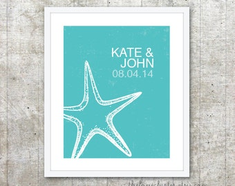 Custom Gift for Newlyweds - Personalized Couples Print - Starfish Wedding Poster - Aqua Blue Turquoise Wall Art - Beach Wedding