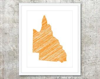 State of Queensland Art Print - Custom Australian State Poster - Orange - Modern Minimalist Australia Wall Art