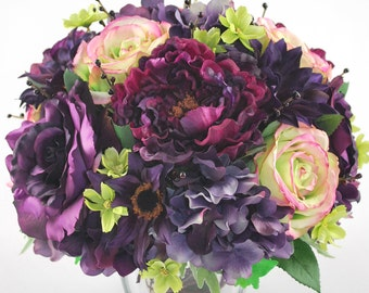 Purple Green Roses Peonies Hydrangeas Silk Floral Centerpiece Square Clear Glass