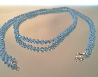 Blue Necklace, Glass Seed Bead , Minimalist Neclace