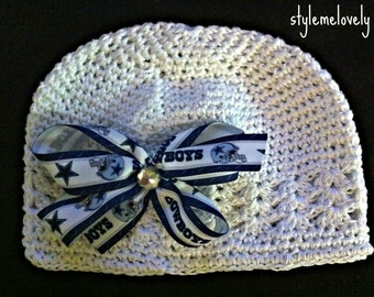 Dallas Cowboys Baby Girl Boutique Bow Crocheted Hat